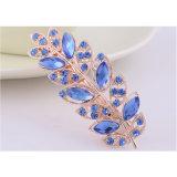 O formato de folha de moda Hair Clip com diamantes azul