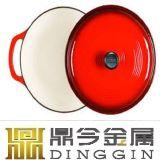 台所調理器具カラーエナメルの円形の鋳鉄の在庫の鍋