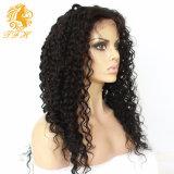 180% Densidad barato largo rizado rizado peluca llena del cordón Vírgenes de Mongolia peluca delantera del cordón rizado rizado pelucas de pelo humano para las mujeres negras
