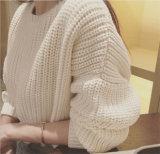 Novo chegam os jovens de confeção de malhas do pulôver da forma da camisola do Hem irregular das senhoras brevemente