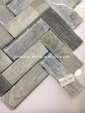 Graues hölzernes Tintenstrahl-Drucken-Herringbone Glasmosaik-Fliese