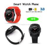 Teléfono elegante del reloj de Bluetooth de la pantalla redonda llena con la ranura para tarjeta y la cámara (W8) de SIM
