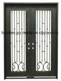 Portas de entrada superiores quadradas simples do dobro do ferro feito