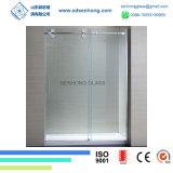 Oscillation claire gravure à l'eau forte de satin glissant la porte de douche en verre Tempered de Frameless