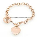 Women Stainless Steel Love Bracelets Fashion Heart Pendant Fashion Jewelry를 위한 새로운 Arrived Link Chain Bracelets