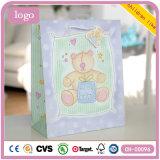 Bolsas de papel púrpuras del regalo del arte del almacén de ropa de los niños del oso