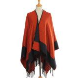 Mantón tejido Winter de la franja de señora Fashion Acrylic Knitted (YKY4585)