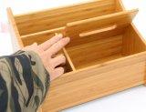 Organizador Desktop de bambu da caixa de armazenamento