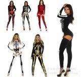 Dos clubes noturnos de esqueleto fêmeas do zombi do traje da rainha Halloween Cosplay da bruxa da noiva do vampiro desempenhos uniformes do Ds
