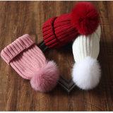 형식 겨울 베레모 모자를 위한 실제적인 너구리 모피 POM 공