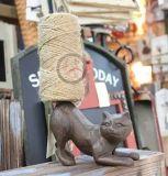 Decoración del hogar y del jardín de la escultura del arrabio/del gato de Polyresin