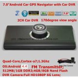 PC Android del ridurre in pani dell'automobile mobile sottile 7.0inch con la scatola nera dell'automobile 2.0mega, 1080P automobile piena DVR, percorso di GPS, trasmettitore di FM; Macchina fotografica di parcheggio, registratore DVR di 2CH Digitahi