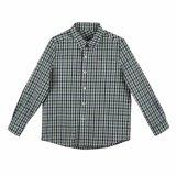 格子縞の100%年の綿の男の子の衣服の子供のワイシャツ