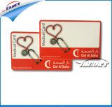 Cartão laminado do PVC com número do cartão e código de barras