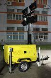 Telaio mobile portatile idraulico verticale telescopico del rimorchio del generatore 6~13kw/kVA della torretta di illuminazione della torretta chiara della lampada Halide di metallo