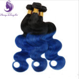 재고 1b/Blue Ombre 색깔 인간적인 Remy 머리 씨실