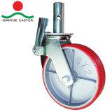 PU de los 6in los 8in Moldear-en el echador de acero del andamio de la rueda