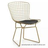 A mediados de siglo Diningmetal clásico de la malla de alambre silla Blackpad lateral