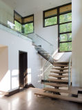 escalera moderna del acero inoxidable 304 316 con la pisada de cristal