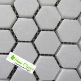 Hexagon-Mosaik-Fliese weiße Thassos Marmormosaik-Fliese