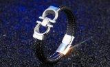 Juwelen van de Armbanden & van de Armbanden van de Gesp van het Roestvrij staal van de Armband van het Leer van de Mensen van de Verkoop van de manier de Hete Zwarte Magnetische Mannelijke Punk