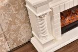 Bordure blanche de cheminée de stand de TV pour la décoration à la maison