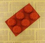 Moulage de savon de silicones de fleur de tournesol de catégorie comestible de 6 cavités