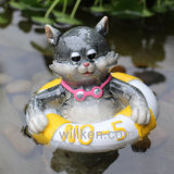 Горячее продавая украшение сада кота аквариума плавая