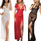 Sexy Length Dressingroom Night Gown Sheer Transparent Dress Evening Nightgown Nightie Sleepwear Linen room Women Newest