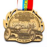 金属リボンが付いている小さい様式の記念品の使用の骨董品の金3Dメダル