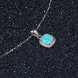 Venda por grosso Jóias Square Blue Opal prata esterlina jóias Colar