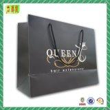 Sacchetto di acquisto di carta laminato abitudine di lusso con stampa di marchio