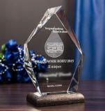 Forma de losango artesanato de vidro cristal com gravação a laser 3D a impressão de logotipo para a loja de presentes