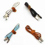 Cable de carga del relámpago del USB de los datos de cuero del conector para el iPhone de Samsung