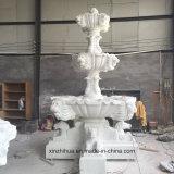 Em mármore branco natural aperfeiçoou Animal Cavalo de Pedra Grande fonte de água