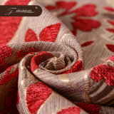 Rotes Chenille-Sofa-und Textilgewebe
