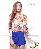 Chiffon- Hemd-lange mit Blumenhülsen-Chiffon- Hemd für Frauen
