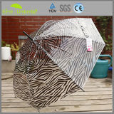 Signora Fashion Clear Dome Umbrella del PVC della stampa della zebra