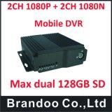 Cartão SD duplo de 4 canais Mobile DVR com 4G o GPS opcional
