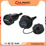 Macho y Hembra Cnlinko USB3.0 datos panel resistente al agua IP67 Proveedor del conector de la impresora circular