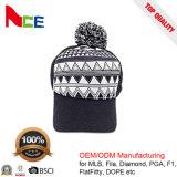 方法たくわえの暖かいポンポンの美しい冬の帽子によって編まれる帽子