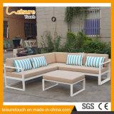 Tabella stabilita del giardino del sofà d'angolo di alluminio moderno di svago e mobilia esterna della presidenza
