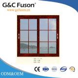 Окно двойника высокого качества Китая стеклянное алюминиевое сползая с решеткой