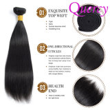 Cabelo brasileiro Weavon do Virgin não processado cru natural da cor, cabelo humano brasileiro reto de seda