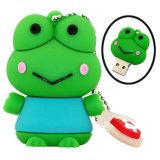 Portable personnalisé en PVC de stockage de données de forme de grenouille la mémoire flash USB