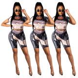Summer Ladies Set da 2 pezzi Dollar Element Print Sexy Navel Body Biker Suit sportivo Tracksuit Donna Set corto