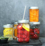 600ml Clear Glass Food, Salad and Fruit Mason Bottle with Handle