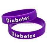 Serigrafía pulsera de silicona pulseras de silicona de advertencia de la diabetes