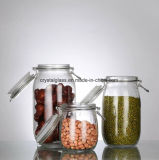 건조한 음식 견과 또는 사탕 저장 유리 양철통