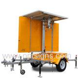 Optraffic 5 LED de color doble cara con eficiencia energética de remolque portátil Solar montado en el VMS